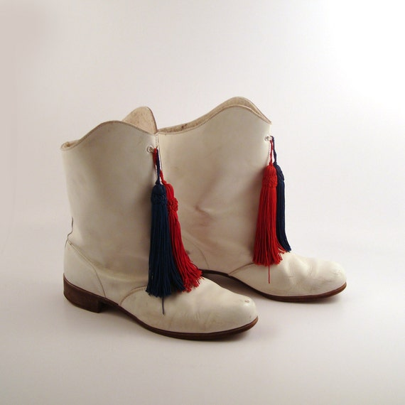 white drill boots vintage 1960s majorette leather womens