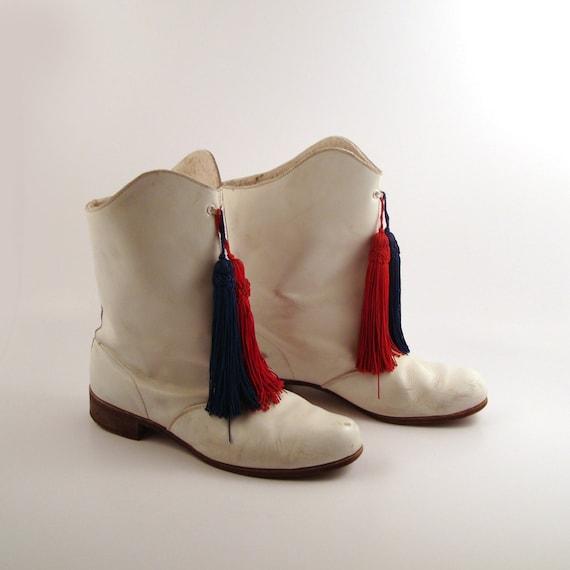 White Drill Boots Vintage 1960s Majorette Leather Women S