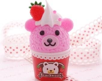 Kawaii Charm Strawberry Bear Ice Cream Cup Charm 1pcs