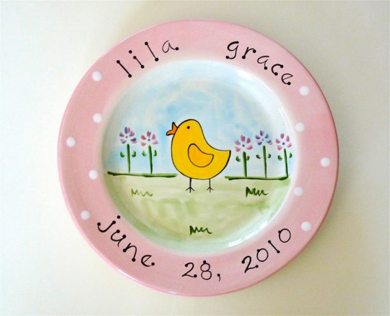 personalized hand painted baby chick birth announcement plate