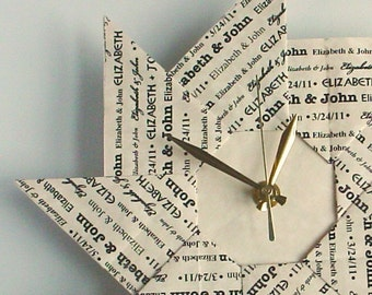 Personalized 1st  Anniversary  Gift - Custom Origami Clock - With Black Type - Paper 1st Anniversary Gift - Large