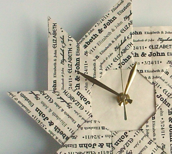 Unique First Wedding Anniversary Gifts: Personalized 1st Anniversary Gift Custom Origami Clock