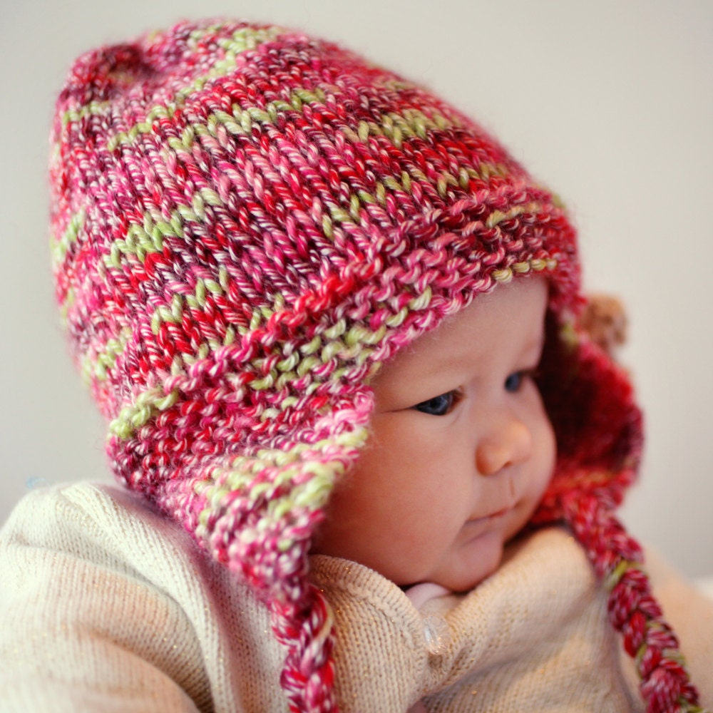 Knitting Pattern For Childrens Hats : Knitting Pattern Earflap Hat Baby Child and Adult by LoveFibres