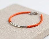 Friendship Bracelet - Orange - Silver Bar Bracelet with orange seed beads- Miyuki - glass bead - trendy bracelets - simple jewelry