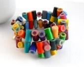 Wrap Bracelet, Jewelry, Colored Pencil, Memory Wire, Coil Bracelet, Charm Bracelet, Teacher, Teacher Gift, Multi color, Rainbow