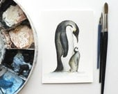 giclee print of an ink and watercolor painting of Emperor Penguins