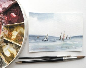 original watercolor painting of yacht sailing boats at sea
