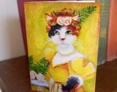 Regency Cat Greeting Card, White Cat in Yellow Regency Dress, CLEARANCE Print