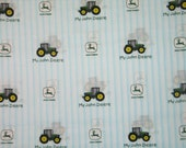 "John Deere Tractor  Blue Ticking Stripe Fabric 1 yard 12""  X 44"""
