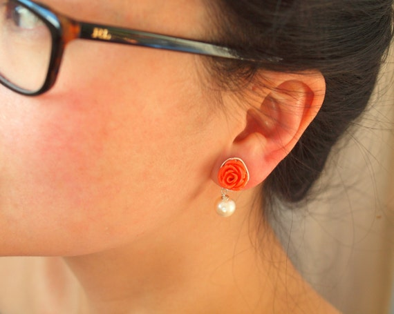 Peach rose flower dangle earrings stud with fresh water pearl silver