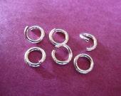 Shop Sale.. Sterling Silver LOCKING Jump Rings, Open Jump locks, 25 pcs, 6 mm, 18 gauge ga g, thick heavy strong,  SJR6mm..hp