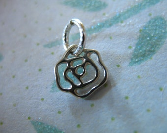 Shop Sale.. Sterling Silver ROSE Charm Pendant, Rose Flower, 1 5 10 pc, 12x8 mm, organic nature floral minimal wholesale sf.rose solo