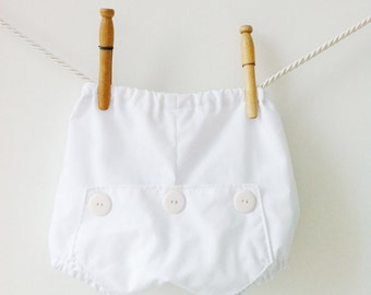 Long John Baby Bloomers, White Bloomers, White Diaper Cover, Toddler Bloomers, Baby Boy Bloomers, Baby Girl Bloomers, Baby Nappy Covers