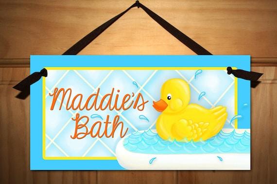 Rubber ducky bathroom door sign boys girls kids bath wall art for Boy and girl bathroom door signs