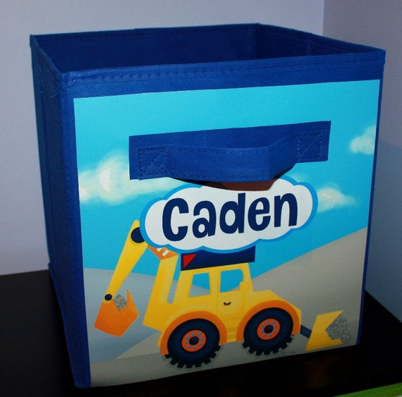 Bright Construction Fabric Bin Boy's Personalized Bedroom