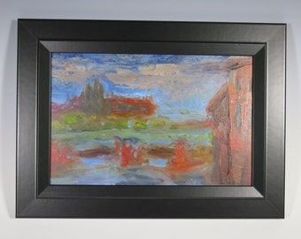 Impressionistic oil painting unique 'Les Abattoirs over Garonne' an original painting by artist Jean Macaluso