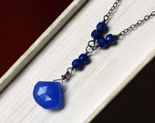 Blue Chalcedony Necklace with Lapis on Oxidized Sterling Silver - Ocean by CircesHouse on Etsy