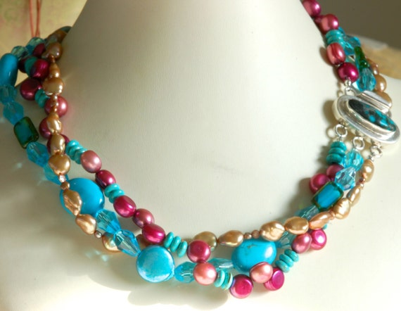 Turquoise, Pearl and Crystal Necklace