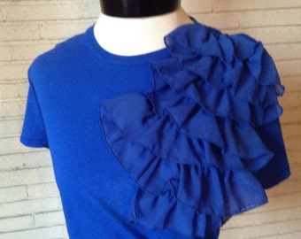 Modern Ruffles Royal blue blouse
