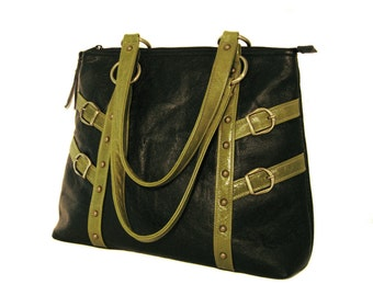 SALE! Large Leather Shoulder Bag - Black Leather - Green Apple Leather Trim - CELESTE