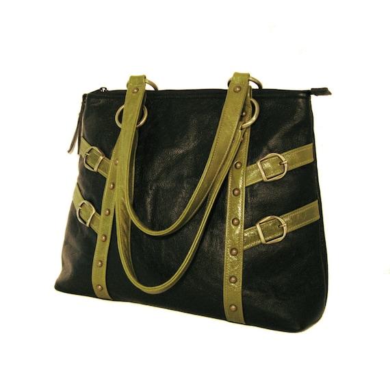SALE! Large Leather Shoulder Bag - Black Leather - Green Apple Leather Trim - CELESTE