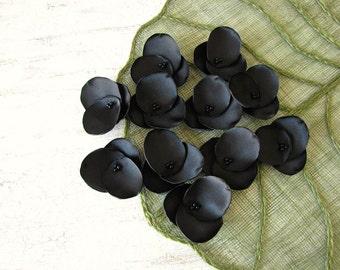 Hydrangea Blossoms-Handmade satin sew on flower appliques (10 pcs)- BLACK