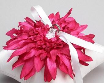 Fushia ring pillow, flower ring bearer, ring holder, wedding decor - Evelyn