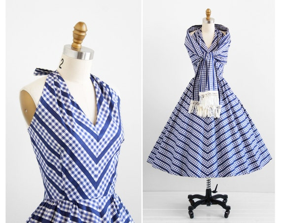vintage 1950s dress / 50s dress / Blue and White Gingham Polished Cotton Halter Dress with Matching Wrap