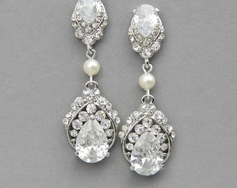 Bridal Earrings , Wedding Earrings , Vintage Wedding  Earrings , Chandelier Bridal Earrings ,Antique Silver Earrings , Wedding Jewelry