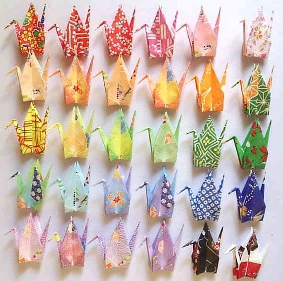 30 Origami Cranes Origami Paper Cranes Paper Crane Origami Crane - 7.5cm 3 inches Japanese Washi Chiyogami Paper - Small