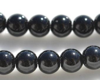 19 Black Jasper 8mm Round Beads BD787