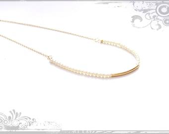 Pearl Necklace, Bridal Necklace, Wedding Necklace, Delicate Necklace, Gold Tube Necklace, Wedding pearl necklace, Gold Minimalist necklace