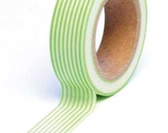 Trendy Tape Washi Tape - Green Stripes  - 10 YDS (1 roll)