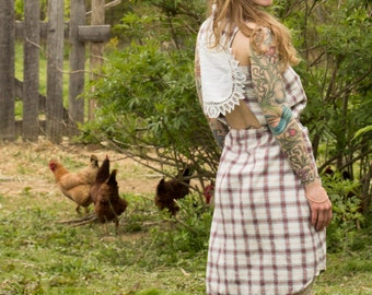 Upcycled Plaid Dress with Doily Open Back