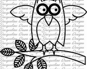 Digital Stamp - Owl on a Branch