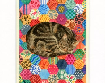 Patchwork Cat, matted print fits 8 x 10 frame