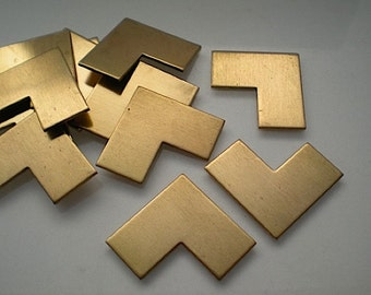 12 large flat brass chevron stamping blanks