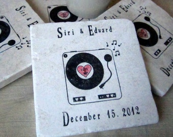 Personalized Record Player Retro Coasters - Music Lover Gift