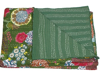 Queen Size Bedcover in Green - Throw - Katha quilts - Reversible Quilt - Quilted bedcovers - Floral Quilt - Spring Collection Quilts