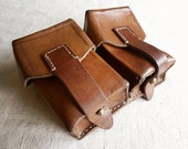 vintage leather ammo pouch, great patina, perfect belt accessory or bike bag