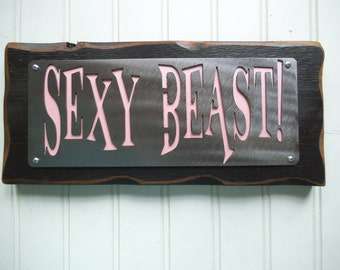 WORKOUT FITNESS BEAST- Wall sign - plaque - shelf decor - coach gift - fitness trainer - Goal reward - Sexy - Strong - Metal - Wood - Black