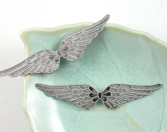 2 silver connected Fairy Angel Wings jewelry embellishment. 58mm (FF6)