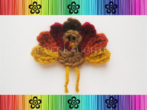 PATTERN-Crochet Turkey Appliqué-Detailed Photos