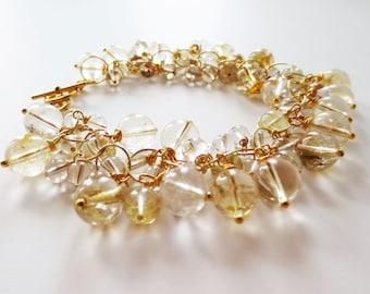 Gold bracelet.  Rutilated quartz bracelet.  Stone bracelet.  Cha cha bracelet.  Charm bracelet.