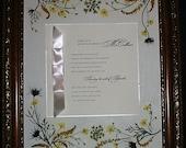 Custom wedding keepsake frame surrounded by pressed flowers