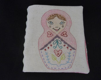 Russian Nesting Doll Needle Keeper, Embroidered Needle Keeper, Dutch Russian Embroidery