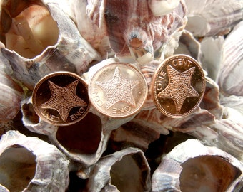 Tie Tack Cufflinks Set -  Bahamas One Cent Star Starfish Coins