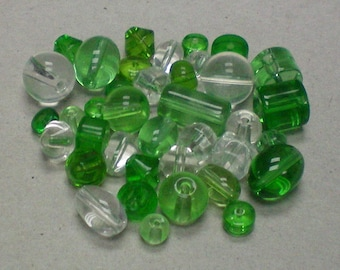 Beads Green Clear Glass