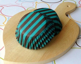 Dark Brown/Teal Stripe Standard Cupcake Liners