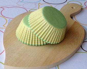 Yellow/Lime Stripes Standard Cupcake Liners